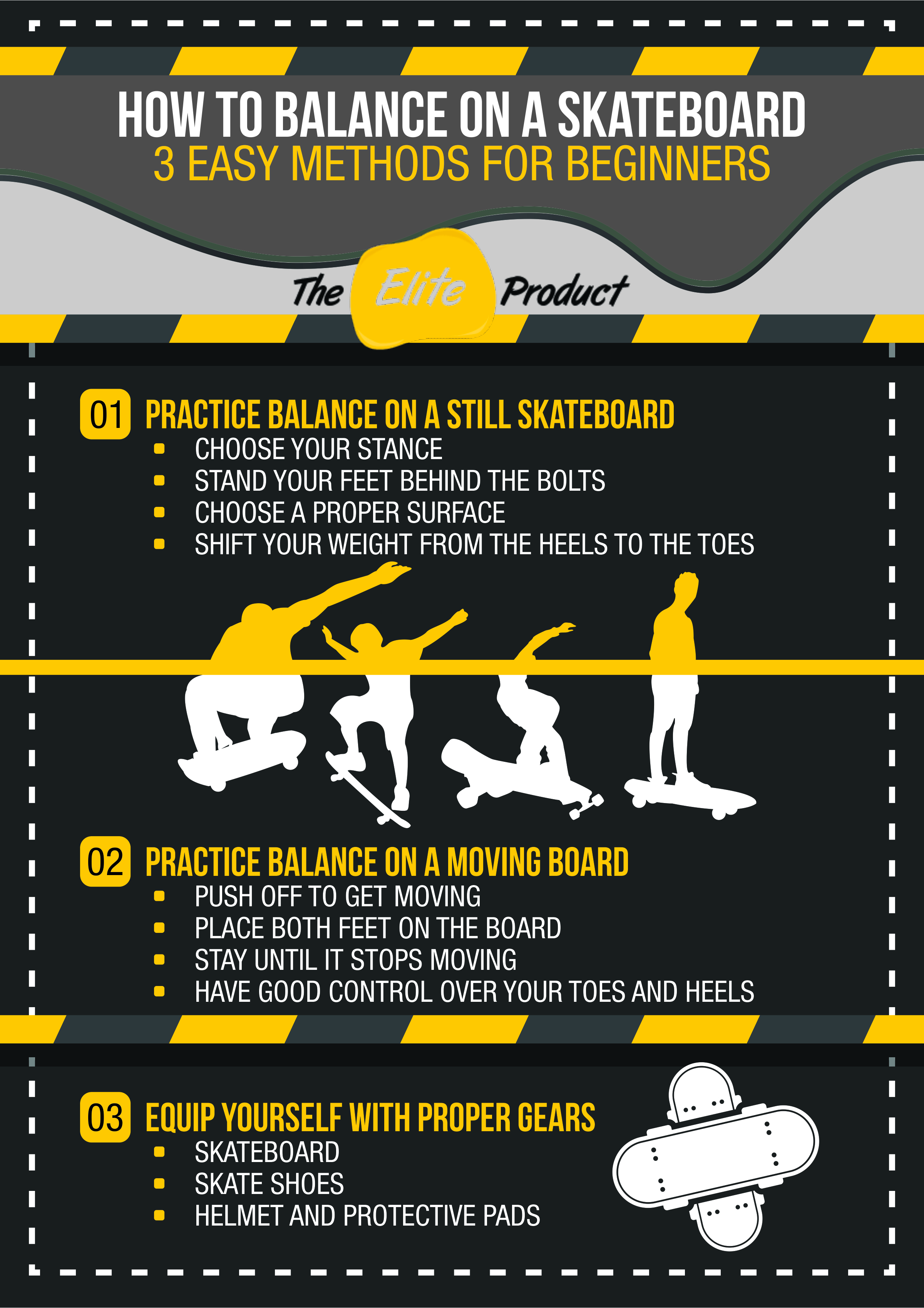 Three beginners step for learning to balance on a skateboard.