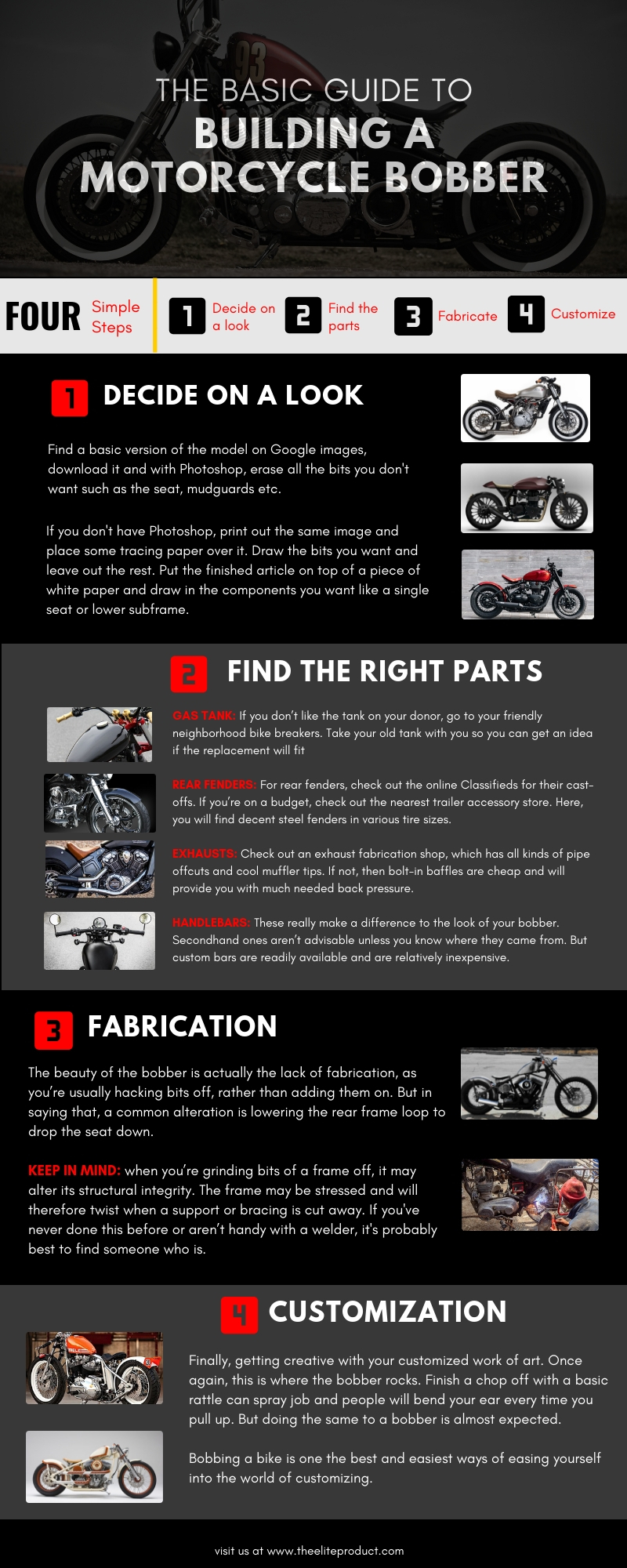 building a motorcycle bobber infographic
